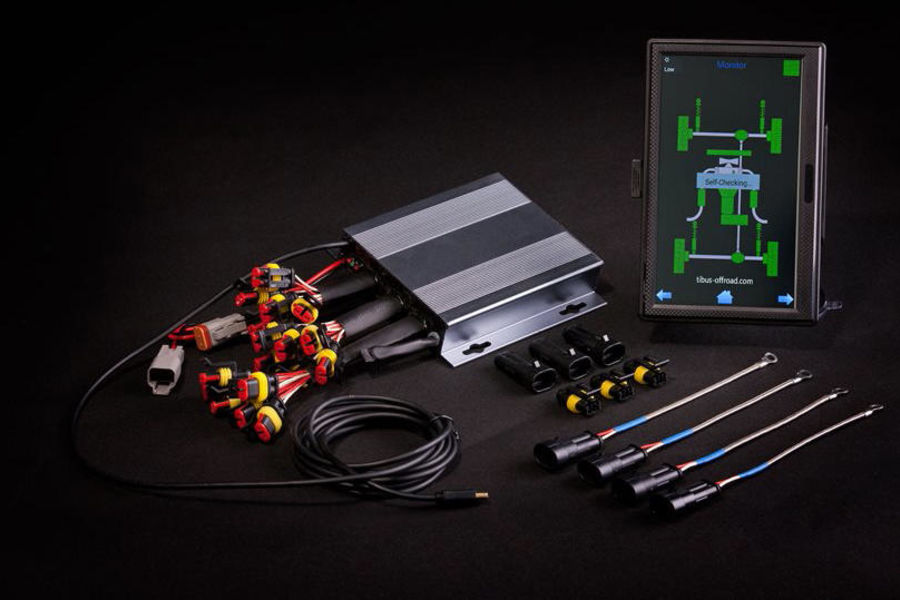 "The TIBUS temperature monitor system ""TMS18"" comes with a 5-inch display including a bracket, control electronics and 18 measuring sensors. The package also includes 18 waterproof connectors."